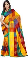 Gugaliya Checkered Fashion Art Silk Saree(Multicolor)