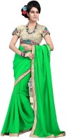 Cenizas Solid Fashion Chiffon Saree(Green)
