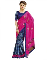 Patiala House Printed, Embroidered Fashion Georgette Saree(Pink, Blue)