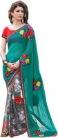 Vastrani Embroidered Fashion Georgette Saree(Grey, Green)