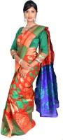 Jagadamba Solid Banarasi Silk Saree(Multicolor)