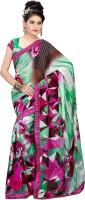 Khoobee Printed Fashion Poly Georgette Saree(Multicolor, Green)