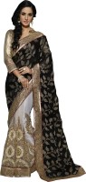 Khushali Self Design, Embellished, Embroidered Fashion Viscose, Net, Satin Saree(Black, White, Beige)