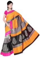 Jiya Self Design, Printed Fashion Poly Silk Saree(White, Black, Grey, Yellow)