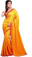 Nairiti Fashions Solid Bollywood Brocade Saree(Yellow)