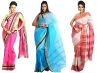 Purabi Woven Tant Handloom Cotton Saree(Pack of 3, Pink, Blue, Red)