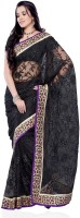 JTInternational Self Design Fashion Net Saree(Black)