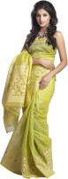 Kataan Bazaar Self Design Banarasi Tussar Silk Saree(Green)