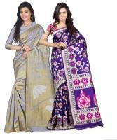Weavedeal Embellished Kanjivaram Silk Cotton Blend Saree(Pack of 2, Grey, Blue)