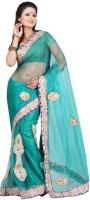 Ansu Fashion Self Design Fashion Net Saree(Green)