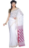 B3Fashion Woven Tant Handloom Silk Cotton Blend Saree(White, Magenta)