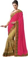 M.S.Retail Embellished Fashion Brasso, Net Saree(Pink, Gold)