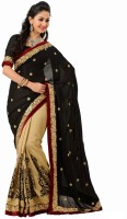 Rajshri Fashions Self Design Fashion Crepe Saree(Black, Beige)
