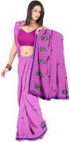 Softdeal Embroidered Fashion Chiffon Saree(Magenta)