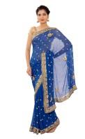 Shri Narayan Fashions Embellished Fashion Georgette Saree(Blue)