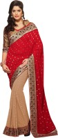 Khushali Self Design, Embellished, Embroidered Fashion Georgette, Jacquard Saree(Beige, Red)