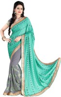 Jiya Self Design, Embellished, Embroidered Fashion Jacquard, Georgette Saree(Green, Grey)