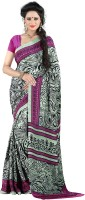 Jiya Self Design, Printed Fashion Poly Crepe, Poly Silk Saree(Multicolor, Purple)