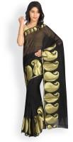 Pavechas Printed Maheshwari Cotton, Polycotton Saree(Black, Gold)