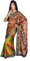 Jagadamba Striped Mangalagiri Silk Saree(Multicolor)
