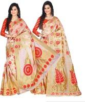 Weavedeal Embellished Kanjivaram Silk Cotton Blend Saree(Pack of 2, Beige, Beige)