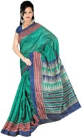 Khoobee Geometric Print Bhagalpuri Art Silk Saree(Green)