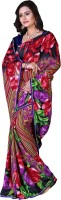 Khoobee Floral Print Fashion Poly Georgette Saree(Multicolor, Red)