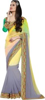 Khoobee Self Design, Embellished Fashion Georgette Saree(Grey, Yellow)
