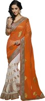 Khushali Self Design, Embellished, Embroidered Fashion Viscose, Net, Satin Saree(Orange, White)