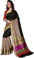 Bhavi Printed Tangail Art Silk Saree(Black)