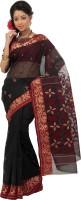 Mrsaree Self Design Tant Handloom Cotton Saree(Black)