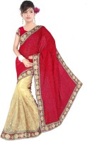 Dancing Girl Embroidered Bollywood Georgette Saree(Red, Beige)