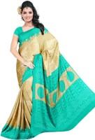 Khoobee Printed Fashion Poly Crepe Saree(Green, Brown)