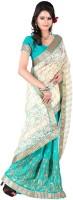 Jiya Self Design, Embroidered Fashion Poly Georgette Saree(Green, White)