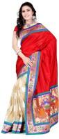 Weavedeal Embellished, Self Design Banarasi Banarasi Silk, Brocade Saree(Red)