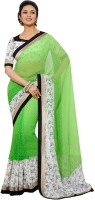 Rozdeal Printed Fashion Georgette Saree(Black, Light Green)