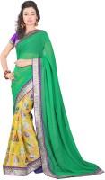 Lookslady Floral Print Fashion Chiffon Saree(Green)