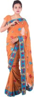Fab Rajasthan Embellished Fashion Handloom Pure Georgette Saree(Orange)