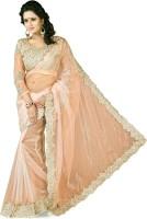 Dancing Girl Solid Bollywood Net Saree(Beige)