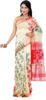 B3Fashion Woven Jamdani Handloom Silk Cotton Blend Saree(Multicolor)
