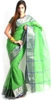 Purabi Woven Tant Handloom Cotton Saree(Green)