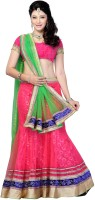 JTInternational Self Design Lehenga Saree Net Saree(Pink, Green)