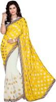 Khushali Self Design, Embroidered Fashion Jacquard, Georgette Saree(Yellow, White)