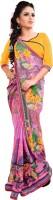 Khoobee Self Design, Printed Fashion Poly Georgette Saree(Multicolor, Pink)