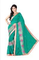 Khoobee Embroidered Fashion Chiffon Saree(Dark Green)