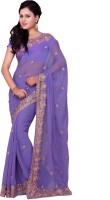 Saree Swarg Embroidered Bollywood Georgette Saree(Purple)