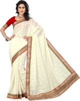 Saree Swarg Solid Bollywood Net, Jacquard Saree(White)