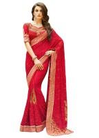 Kvsfab Embroidered Fashion Georgette Saree(Red)