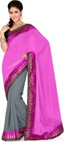 Saree Swarg Solid, Self Design Bollywood Georgette Saree(Grey, Pink)