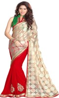 Mirchi Fashion Embellished Bollywood Brasso, Faux Georgette Saree(Beige, Red)